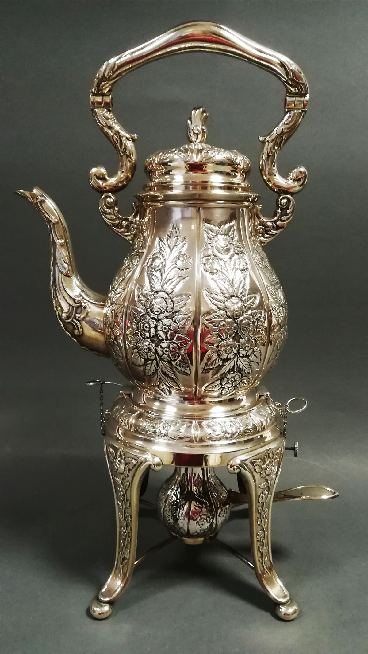 Old silver tea samovar