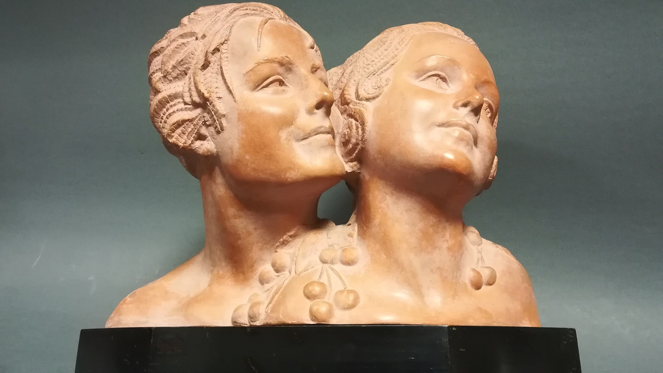 Terracotta figure of the busts of two young women, Demetre Chiparus